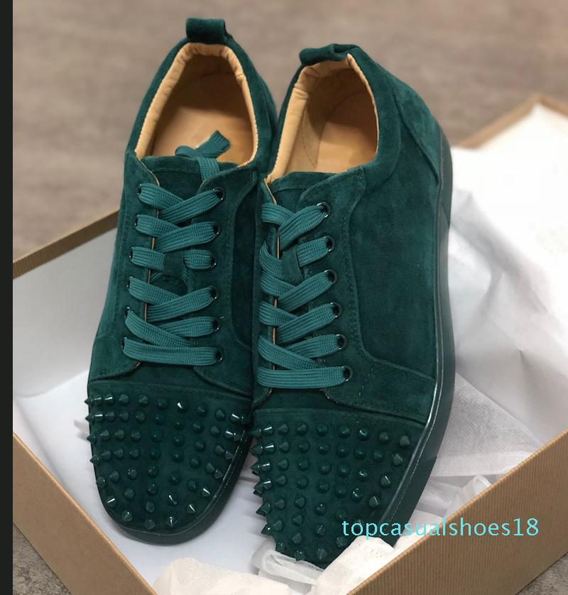Designer scarpe da ginnastica rosse fondo piatto Spikes Velours Suede Sneakers grigio ferro uomini formatori 100% pattini del partito in vera pelle