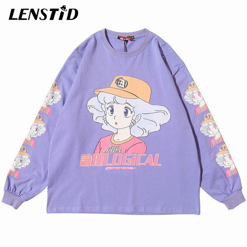 2021 hombres Hiphop Girl Top Tees Dibujos animados Anime de gran tamaño Streetwear Streetwear Camiseta larga camiseta camiseta Harajuku Print T WVBPB