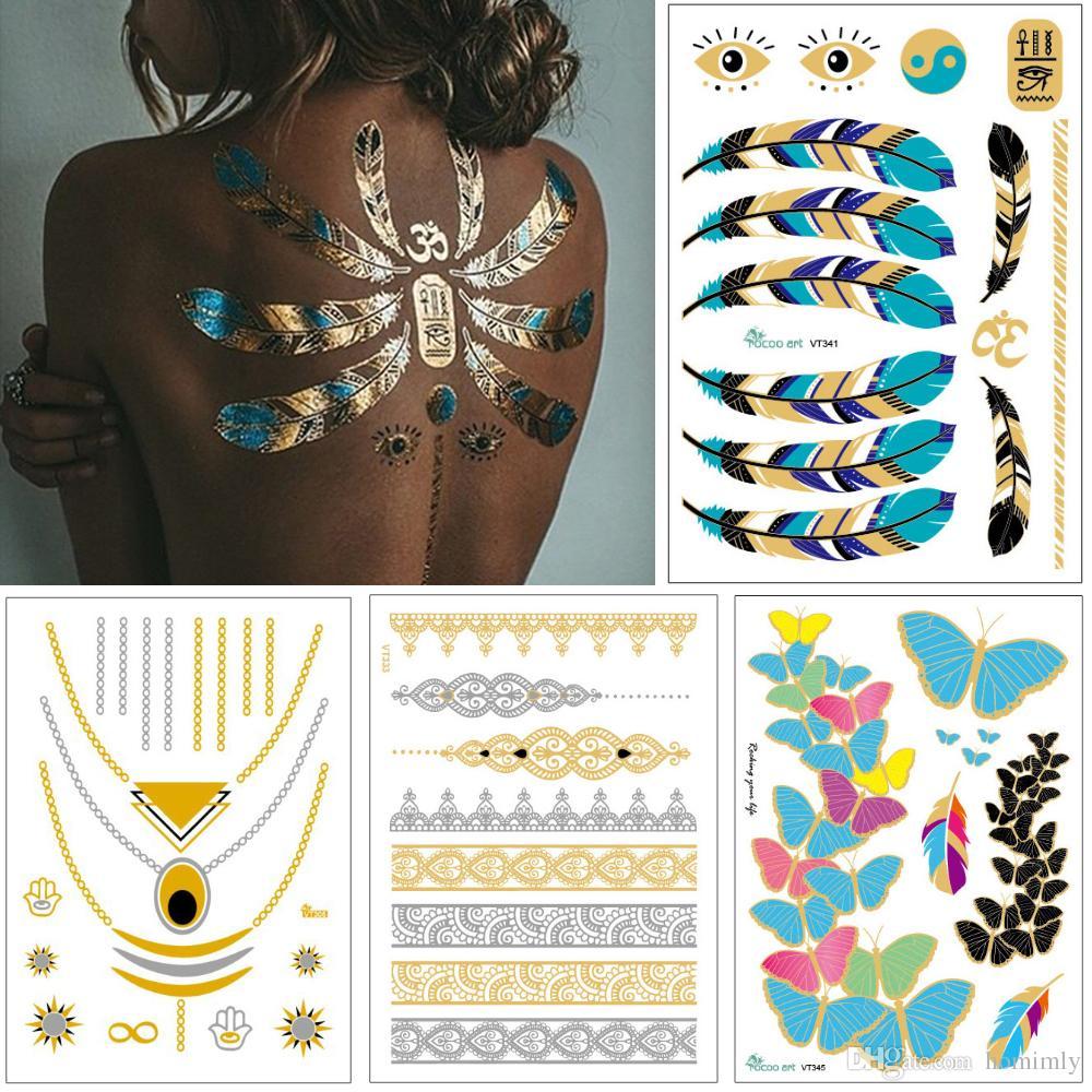 Flash Jewelry Tattoo Gold Silver Necklace Bracelet Body Art Design Feather Heart Henna Flower Arrow Decal Woman DIY Temporary Tattoo Sticker