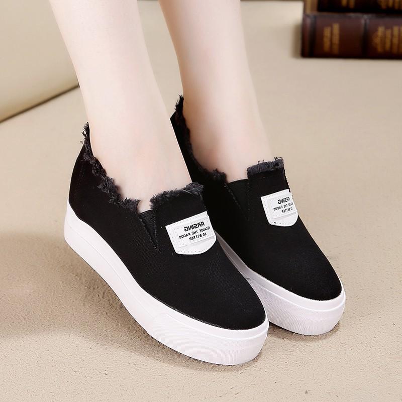 chaussures de toile respirante de hauteur croissante femmes noir blanc plate-forme baskets compensés chaussures pour femmes appartements tenis feminino casual