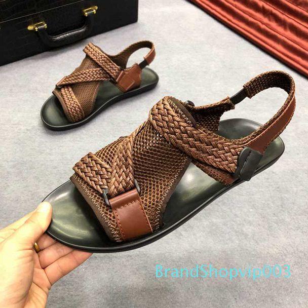 Hot Sale-shion nuova pelle tessuto mesh sandali sandali scarpe da uomo tendenza spiaggia personalità American europei e 38-44 stili