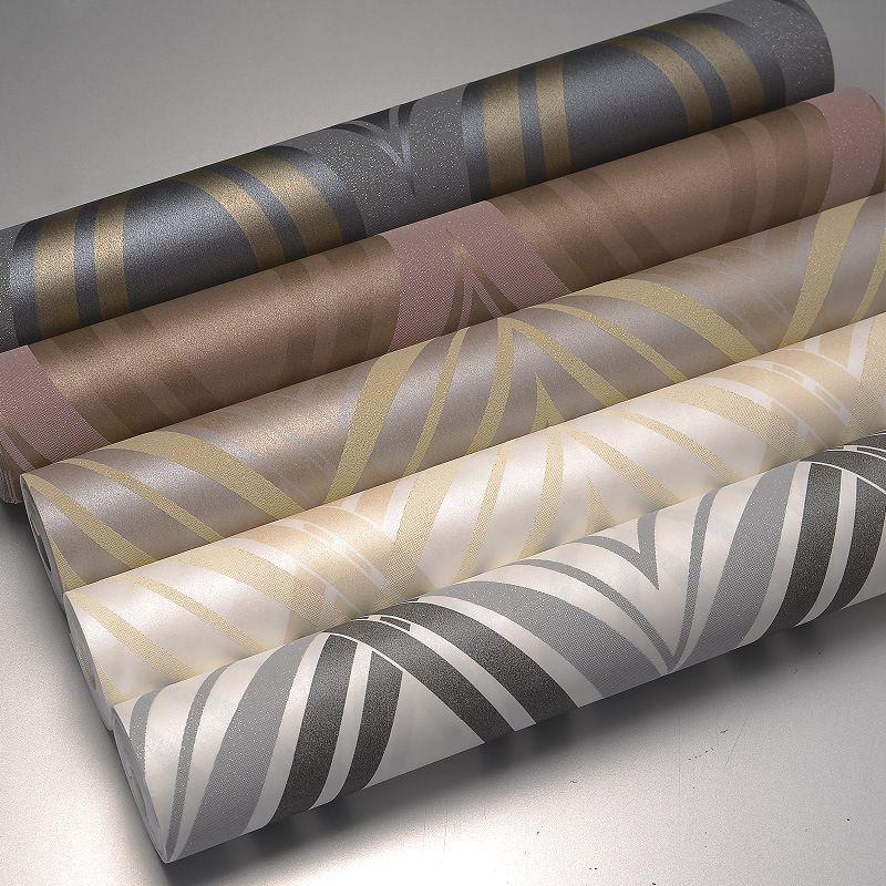 Curving Stripes Geometric Modern Design Wall Paper Home Decor Glitter Textured Waving Wallpaper for Walls Roll