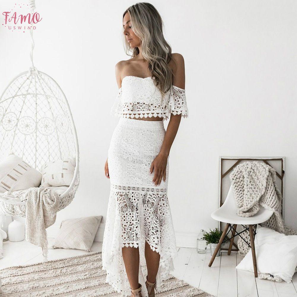 Großhandel 20 Frauen Weißes Spitzenkleid Set Sexy Slash Ansatz Backless  Enges Kleid Frühling Kleider Von Lixlon20, 20,20 € Auf De.Dhgate.Com