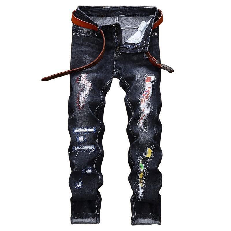 Erkekler Tahrip Stretchy Skinny Fermuar Slim Fit Günlük Pantolon Pantolon Günlük Jeans Erkekler Ripped
