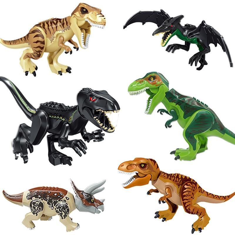 14 stilleri Dinozor Yapı Taşları 3D Montaj ABS Plastik Dunosaur Minyatür Aksiyon Figürleri OPP Ambalaj Jurassic park