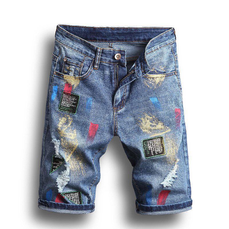 Summer Mens strappato jeans moda stilista uomo pantaloncini dritti pantaloni da uomo corto ginocchio homme casual jean taglia 28-40