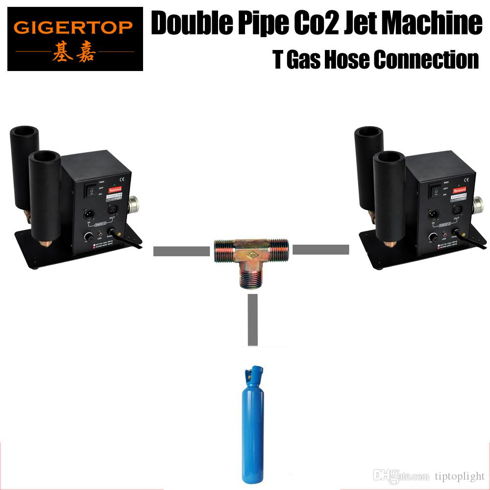Freeshipping 2 x Double Tube Stage DMX512 Co2 Jet Machine DMX Adress Dips Simple Cheap Model T Way Gas Hose Connection Gas Tank