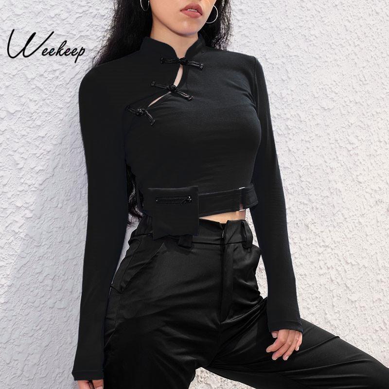 Çıkarılabilir Cep Crop Top tişört Kadın Çince Style Uzun Kollu T gömlek Örme İlkbahar Sonbahar Kırpılmış High Street