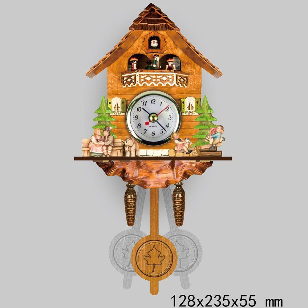 Retro Antique Wooden Cuckoo Wall Clock Bird Time Bell Auto Swing Pendulum For study bedroom Wall Hanging Clock Art Home Decor