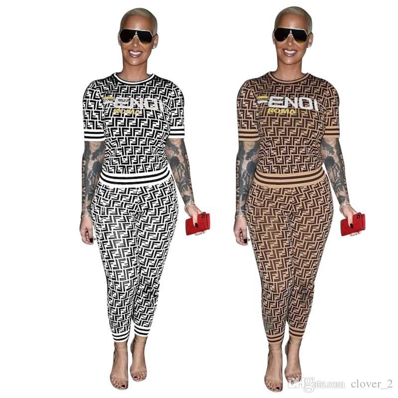 Vêtements pour femmes tenues à manches courtes en deux pièces ensemble imprimé de survêtement de jogging costume sport costume klw0849