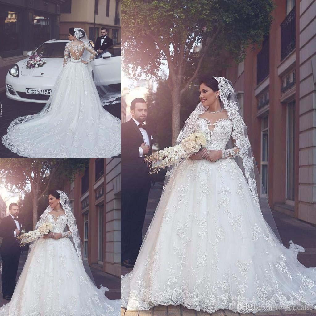 사용자 정의 만든 아랍어 긴 소매 Tulle 아플리케와 라인 웨딩 드레스 신부 드레스 뒤로 결혼식 신부 가운 가운 데리 Mariage