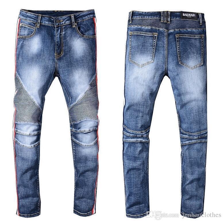 2020 Mens Distressed strappato Biker Jeans slim fit Motociclista Denim per gli uomini di Hip Hop Designer Jeans Uomo di buona qualità @ 13