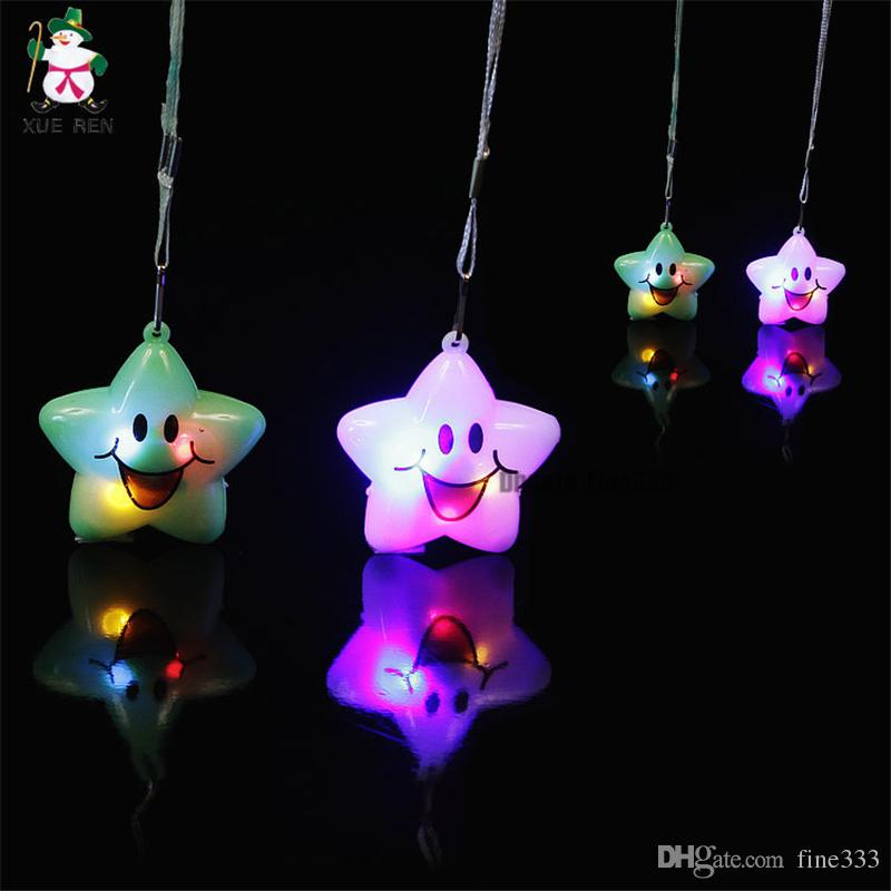4 Colors LED Smile Star Toy Flash Light Toy Christmas Supply Phone Pendant Accessories Led Toys