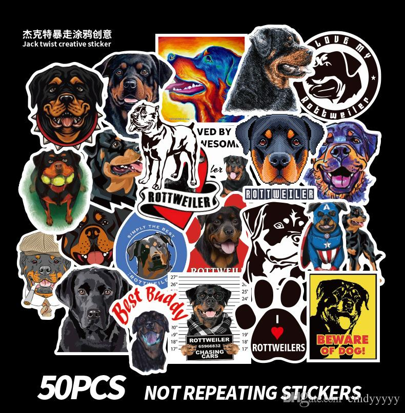 50 pcs Mixed Car Stickers Rottweiler Dog Pets For Skateboard Laptop Helmet Stickers Pad Bicycle Bike PS4 Notebook Fridge Guitar Pvc Decal