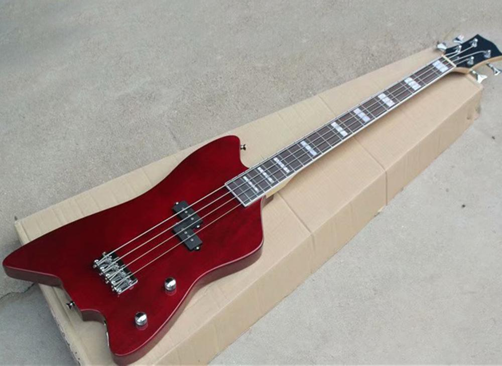 krom donanımla Toptan 4 dizeleri şeffaf kırmızı elektrik bas gitar, beyaz bağlayıcı, Aktif devre ile klavyesine gül ağacı