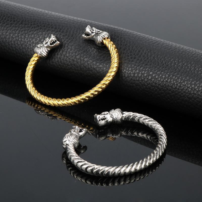 Skandinavier Viking Fenrir Wolf-Kopf verdrehte Kabel-Armband-Arm Ring Pagan Schmuck 2 Farbe
