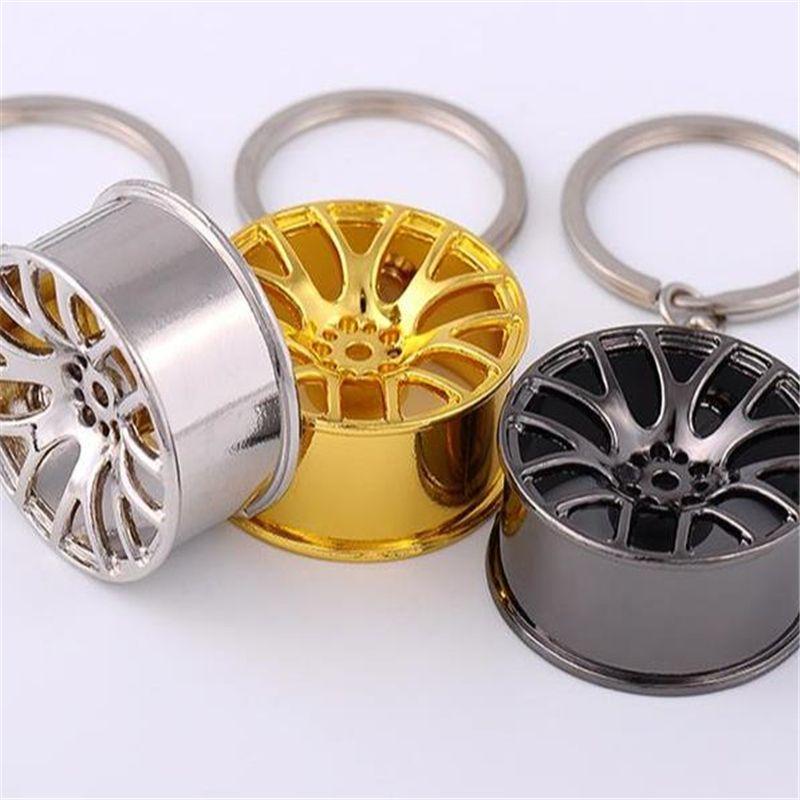 New Design Cool Luxury metal Keychain Car Key Chain Key Ring Creative Wheel Hub Keychain For Man Women Gift 2019032506