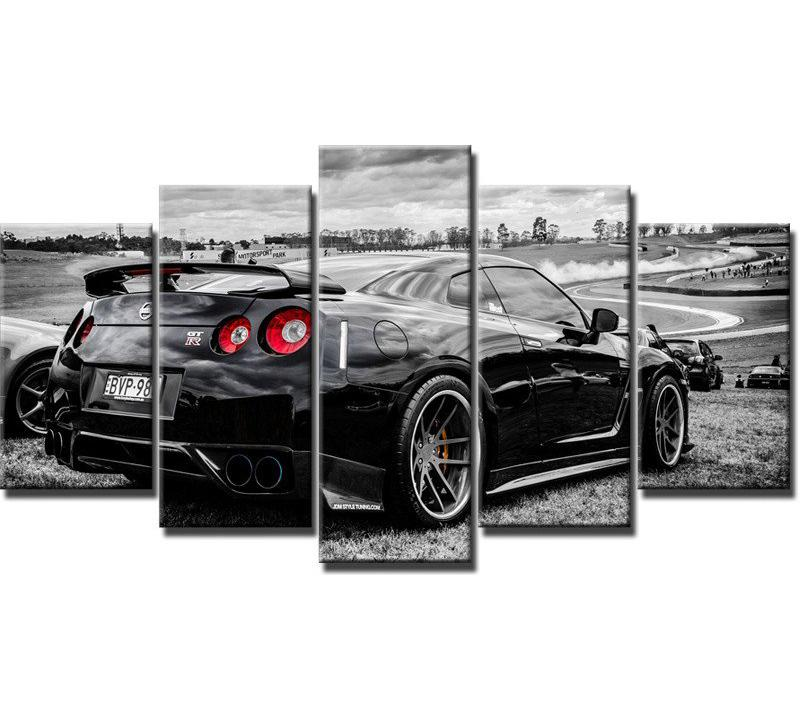 Nissan Gtr R35,5 Pieces HD Canvas Printing New Home Decoration Art Painting/(Unframed/Framed)