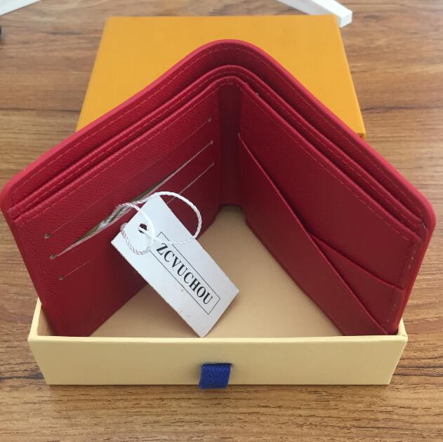 С Коробкой Париж Премиум Красный Кожаный Стройные Бумажник Красный Черный Кошелек Из Натуральной Кожи На Открытом Воздухе Спортивная Сумка