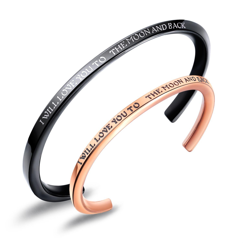 pulseras de titanio de acero inoxidable parejas aumentaron astilla negro láser azul amor abierta parejas catenaria joyas de oro para la muchacha de los muchachos regalos