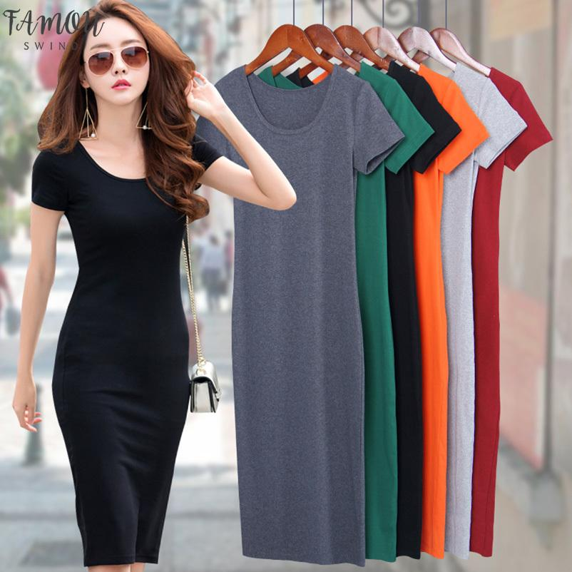 Cotton T-shirt Dresses Summer Women Long T Shirt Dress Female Bodycon Dress Tank Female Lady Black Grey Short Sleeve Sexy MD1