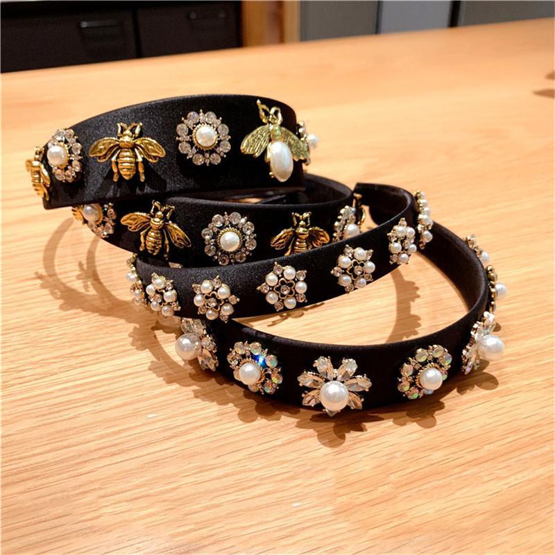 Barock Retro Bee Stirnband breiten Rand Strass-Stirnband Luxuxgold Velvet Weit Rand Hairpin Perlen-Stirnband-Haar-Zusätze