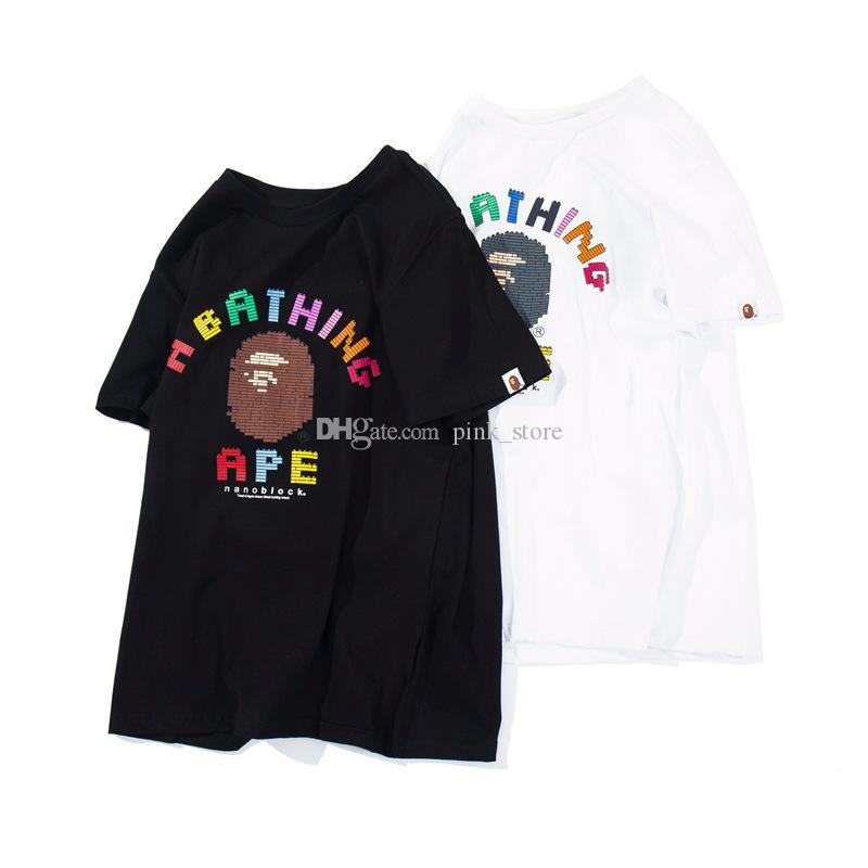 venta caliente hombre Camiseta para hombre del diseñador de moda de manga corta de un simio de baño de alta calidad de la camiseta del algodón Tamaño Tees