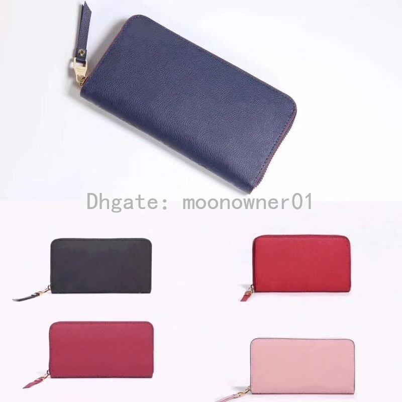 أعلى جودة الأصلي مصمم محفظة جلدية للنساء أزياء والجلود طويل محفظة المال حقيبة سستة الحقيبة عملة جيب مذكرة مصمم مخلب