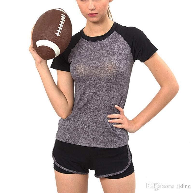 Femme À Séchage Rapide Gym Yoga T Shirt Collants Femmes Sport Tees Pour Running Gym Fitness Tennis Badminton À Manches Courtes Vêtements Tops