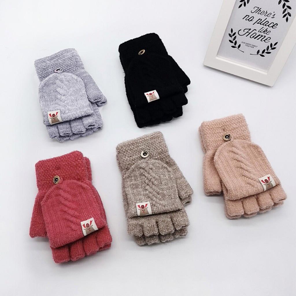 Khaki Knitted Mitten Gloves Winter Knitted Gloves Warm Gloves Kids Boys Girls Christmas