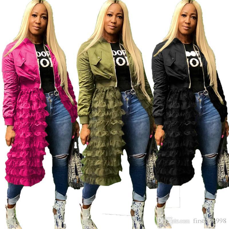 Frauen Designer Lange Jacken Zipper Gazenetz Panelled Patchwork-Jacke Solid Color Coats Frühling Herbst Damenmode
