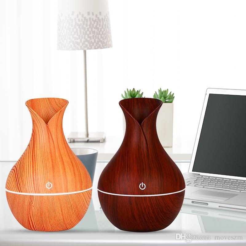 Holzmaserung Ätherischer Luftbefeuchter Aromaöl Diffusor Ultraschall Holzluftbefeuchter USB Mini Nebelhersteller LED leuchtet Für Home Office