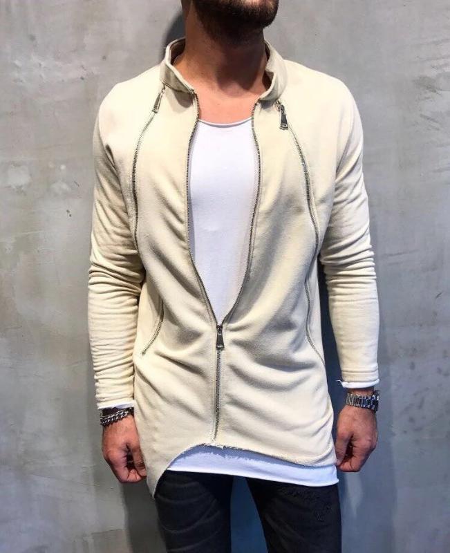 2019 yeni varış Casual Katı Renk Standı Yaka Fermuar İnce Hırka moda ince erkek Coat Tops