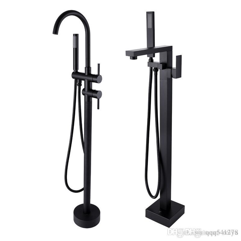 2020 Rolya Matte Black Freestanding Bathtub Faucet Bath Spout
