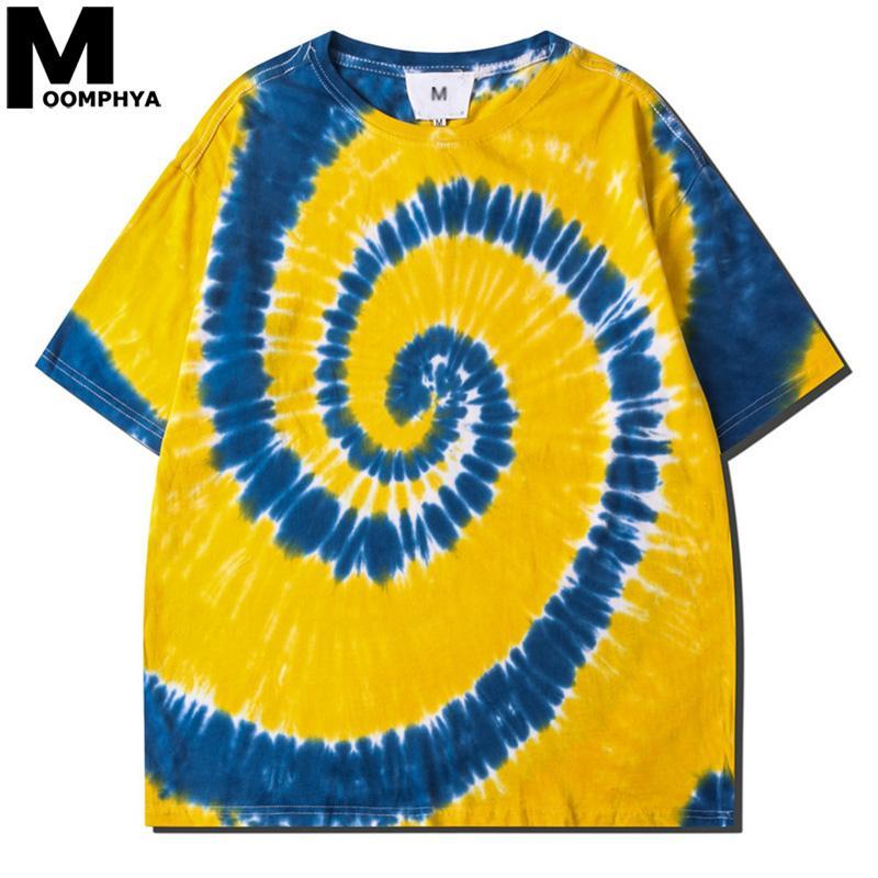 Moomphya 2020 Tie-Dye Harajuku T-shirt surdimensionné hommes Streetwear spirale modèle T-shirt Homme Hip Hop T-shirt de coton d'été Haut T200617