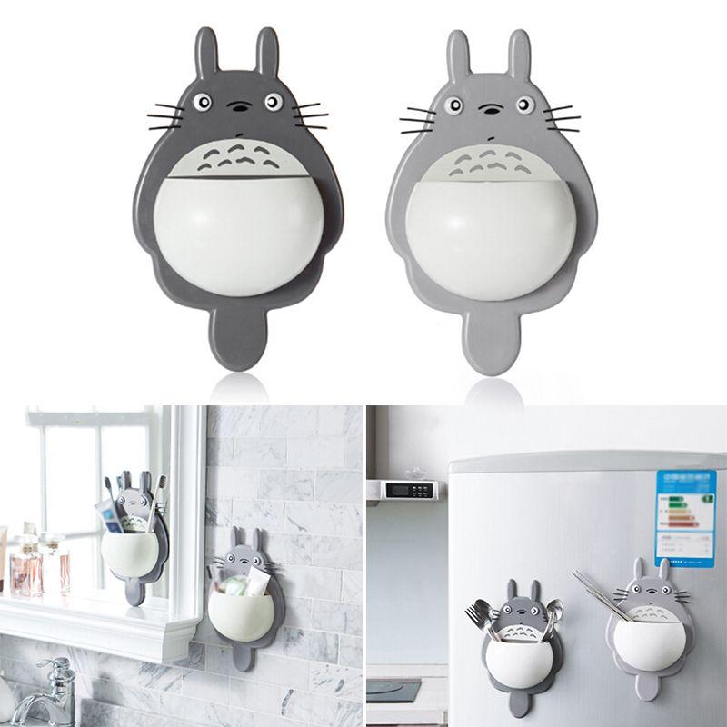 1 Adet Diş Fırçası Duvar Montaj Tutucu Sevimli Totoro Sucker Emme Banyo Organizatör Aile Araçları Aksesuarlar Drop Shipping