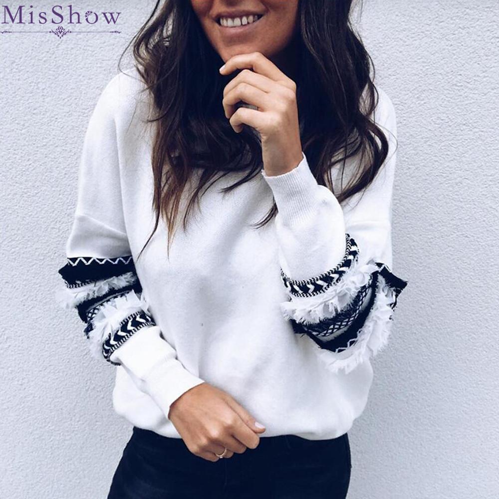 Nuevos MisShow 2019 Primavera linterna Prendas con capucha remiendo de las mujeres de las rayas de vestir exteriores caliente sudadera con capucha de manga larga suaves