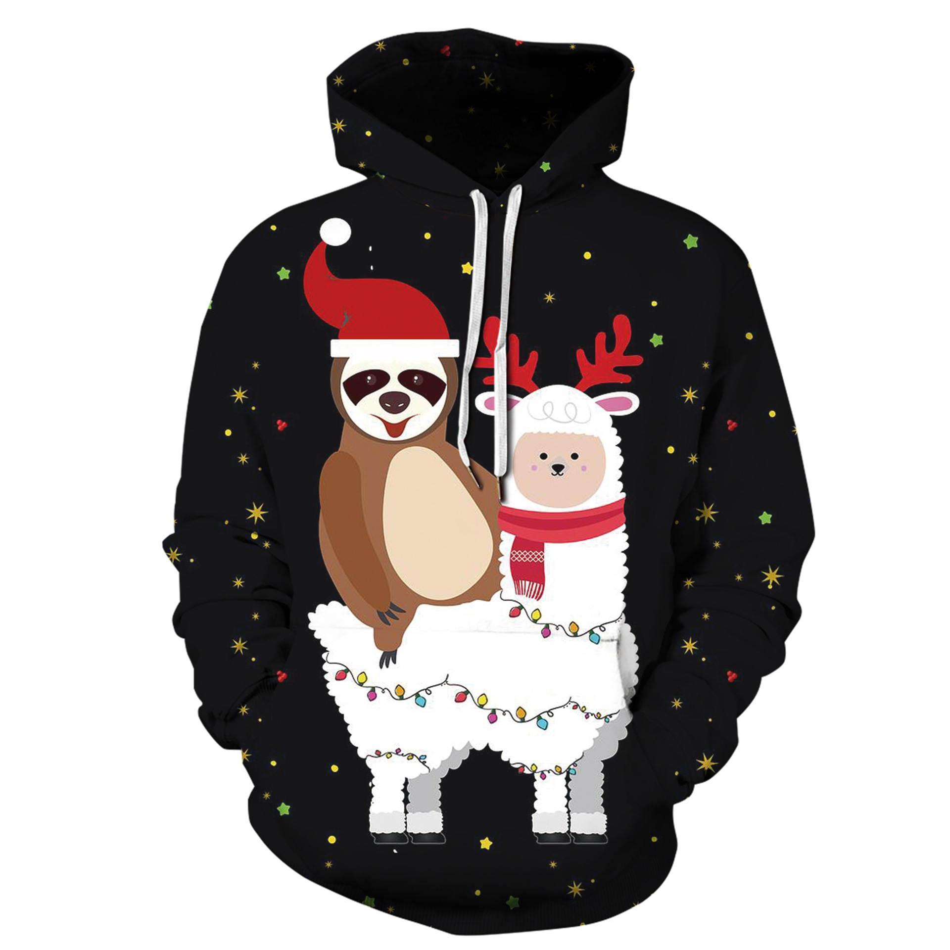 Gocgt Mens Rivet Long Sleeve Drawstring Pullover Hoodie Sweatshirt Tops Black L