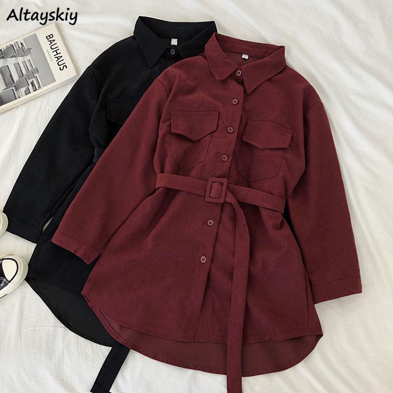 Corduroy Langarm Kleid Women Solide Buttons Taschen Turn-down-Kragen-einfache elegante Schärpen All-Gleiches Frauen Vintage-Harajuku T200318