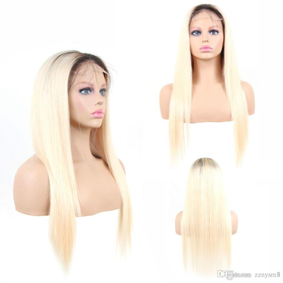 1B del pelo / 613 Rubio Ombre color Remy peruano peluca del frente del cordón Pre desplumados sin cola pelucas de pelo humano para las mujeres negras ujibg