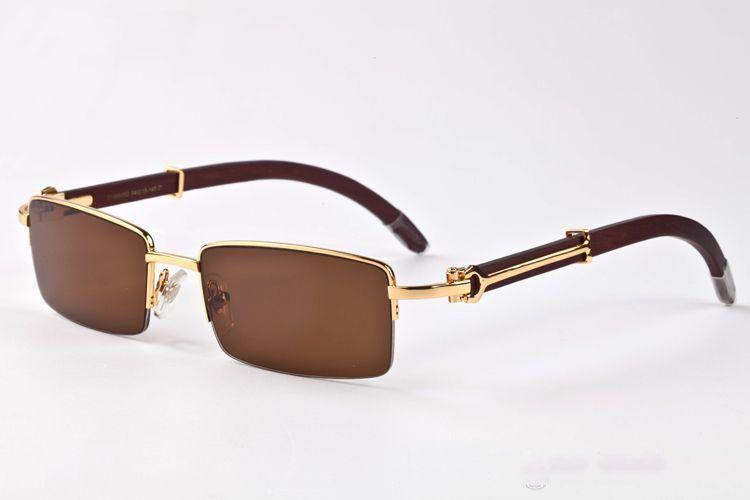 Sunless Fashion Sun Metallo Occhiali da sole in metallo Polarized Gold Frame Clear Occhiali Occhiali New Wood Horn Buffalo Brand Eyeglasses Caso con scatola in vetro AEGW