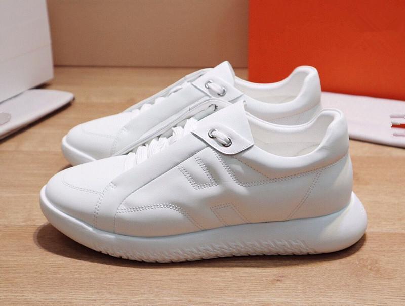 Hermes 2020 Nuovo di Lusso progettista Marca Ermete H zapatillas de deporte superiores pelle bovina degli uomini di moda Comodi pattini Piani casuali scarpe alte RDN01