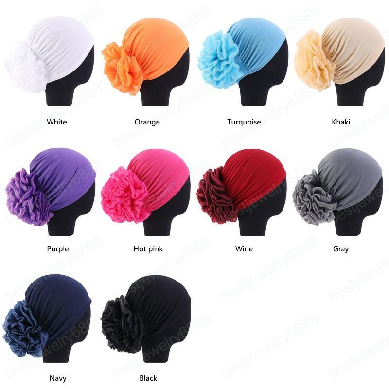 Новый Большой Цветок Женщины Тюрбан Шляпа Мусульманский Платок Куча Куча Шапка Женщины Мягкие Удобные Хиджаб Шапки Исламская Химиотерапия Шляпа