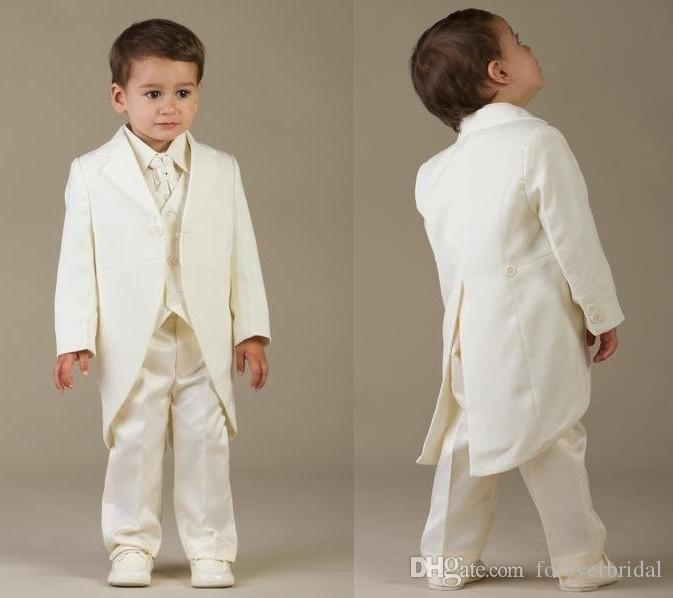 High Quality One Button Kids Formal Tailcoats Ivory Notched Lapel Boy's Wedding Flower Formal Suits Three Pieces (Coat+Pant+Vest)