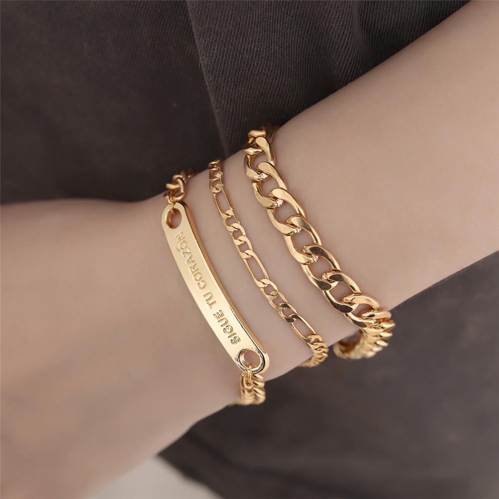 Big & Small Pore Chain Gold Grinding Chain Charm Jewelry 3pcs Set Letter Pendant Simple Style Clothing Accessories FJ107