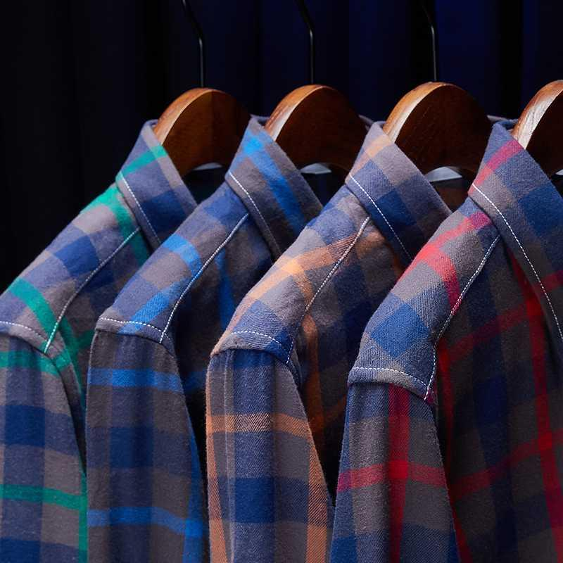 Big Size 5XL 2020 New Men Oxford Camisa Xadrez Fashion Business Casual camisa de manga comprida masculina roupas de marca