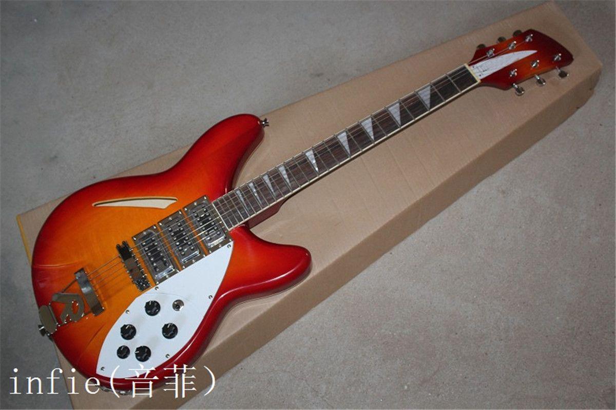 Free shipping Top Quality Rick Semi-Hollow Sky Sunburst Ricken Guitar 3 Pickups R Tremolo Electric Guitar In Stock