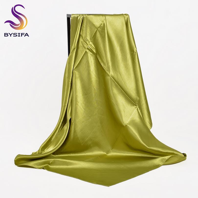 [BYSIFA] Fluorescent Grün Frauen Foulards Wraps Herbst-Winter-Luxus Großen Satin-Seide-Schal moslemisches Kopftuch 110 * 110cm T200609