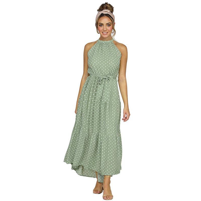 Estate spiaggia elegante sexy abito lungo delle donne 2020 di moda della stampa Fiori Polka-dot cinghia signore Halter boho vestidos donne del vestito