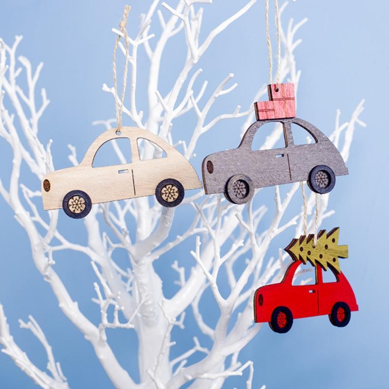 Auto in legno di Natale Dee Tree Artigianato in legno Pendenti Ornamenti natalizi Decorazione dell'albero di Natale Regalo di capodanno per bambini per il Festival